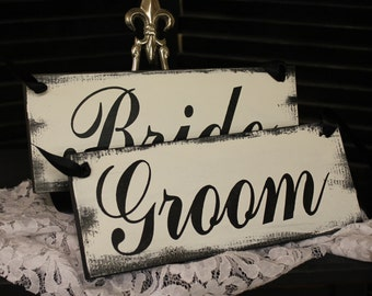 BRIDE - GROOM  Chair Signs/Photo Prop/U Choose Colors/Great Shower Gift/Black/White/Wedding Signs