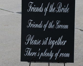 "Wedding signs/ Reception tables/Seating Plan/ ""Friends of the Bride, Friends of the Groom/Xlarge sign/Elegant Black/White"