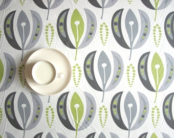 Tablecloth white grey green tender shoots abstract flowers Floral table cloth , also table runner , pillow , curtains available, great GIFT