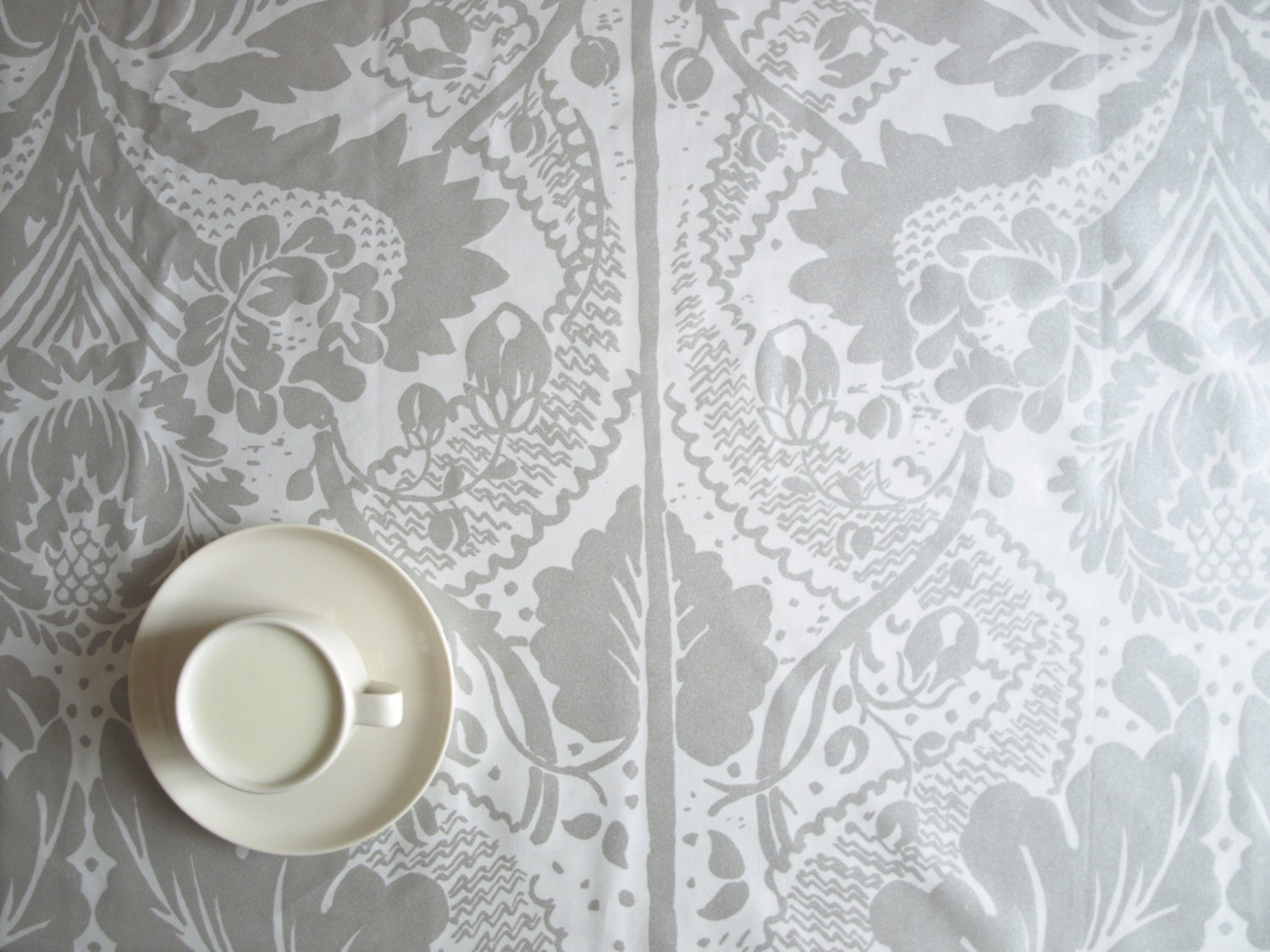Gray and white damask curtains - Marimekko Tablecloth White Grey Silver Damask Leaves Tree Flowers Also Table Runner Napkins Pillow Curtains Available Great Gift