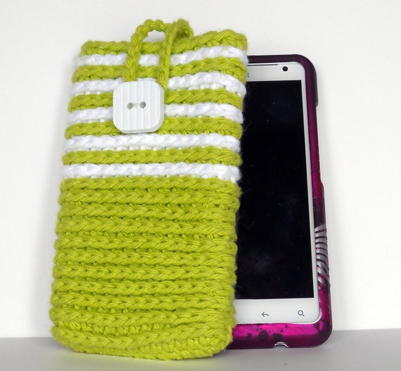Crochet Cell  Phone Cozy/ Smart Phone Cozy, Phone Case protection sleeve in Hot Green with White stripes, Stocking Stuffer, Gift Idea
