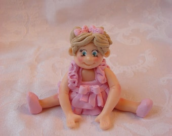 Little Girl Birthday Cake Topper, Childrens Polymer Clay Christmas Ornament, Figurine.  A  Handcrafted Art Sculpture.