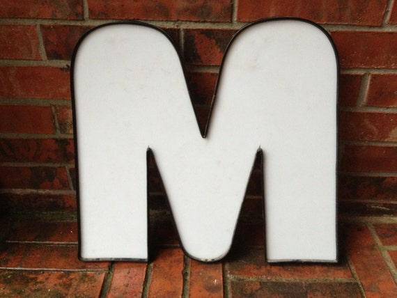 "Large Reclaimed Plastic Sign Capital Letter ""M"", White, Industrial Salvage, Home Decor, Office Decor, Industrial Decor"