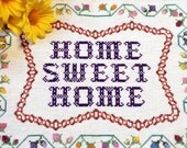 """Vintage Sampler """"Home Sweet Home"""" / Counted Cross-Stitch Sampler"""