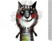 The striped cat, original painting by ozozo