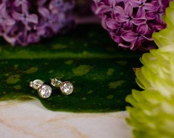 CZ Stud Earrings - Bezel Set in Sterling Silver - One Carat Diamond Substitute Cubic Zirconia Earrings