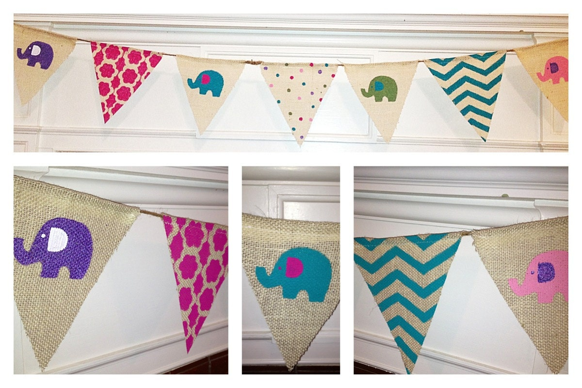 burlap pennant bunting banner for baby shower by twodoodlesdesigns