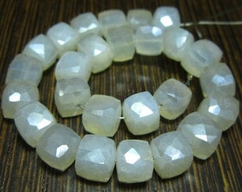 "AA-Pearl Chalcedony Mystic Faceted Cube Briolette- 7"" Strand -Stones measure- 7mm"