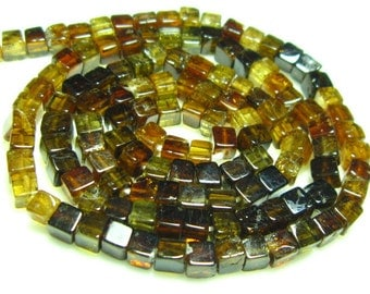 "Petro Tourmaline Smooth Cube Briolettes 16"" Strand -Stones measure- 3mm"