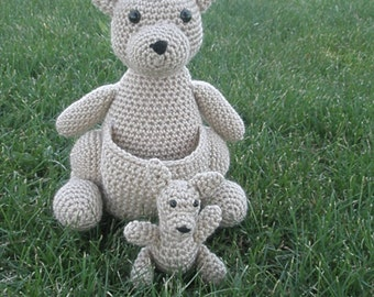Mommy Kangaroo with a Baby Joey Amigurumi Pattern - Instant download- Pattern only - PDF