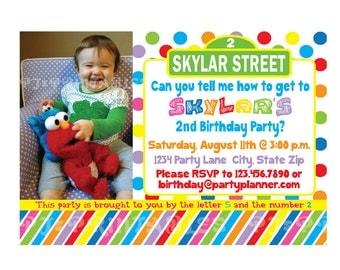 Bright Colors Sesame Street Birthday Invitation - Custom Digital File
