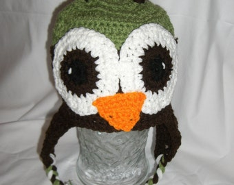 Green and Brown Owl Earflap Beanie