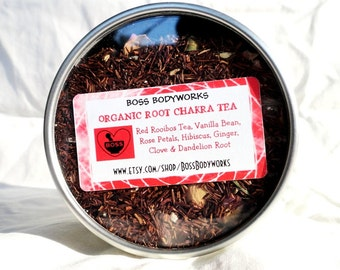 Organic Root Chakra Tea - Rooibos, Vanilla, Rose, Hibiscus, Ginger, Clove, Dandelion - caffeine free, non gmo