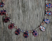 Pink Polka Dot Czech Bead Necklace- Length 20 inches