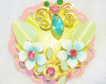 Summer Butterfly and Blooms Pendant