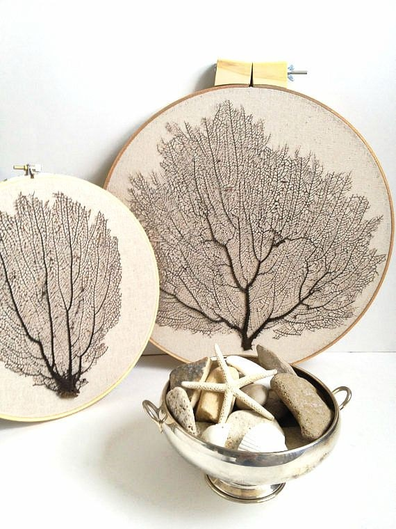 Framed  natural Sea Fan coral hand-stichedand stretched on embroidery hoop - beach chic cottage. Great summer gift- summer decor