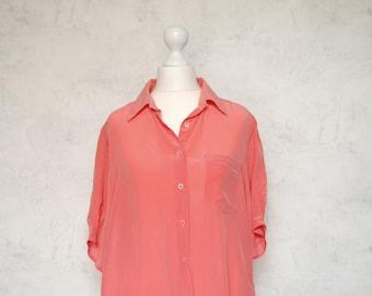 VTG pure silk blouse, vibrant peach/coral silk 90th blouse, button down silk shirt, vintage silk blouse, vintage silk top, vintage coral