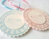 Baby's First Christmas Ornament, Personalized Heirloom Ornament, Porcelain Baby Ornament