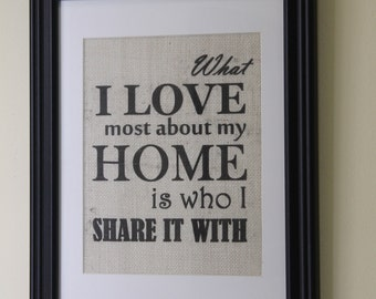 What I Love Most About My Home Burlap Wall Print