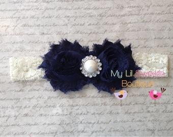 Navy lace headband, baby girl headband, toddler headband, ivory lace headband, birthday headband, infant headband
