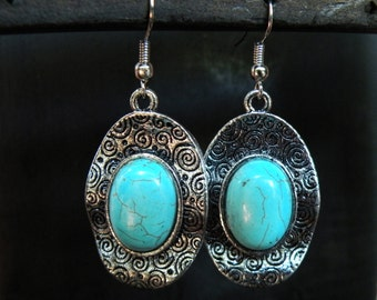 Silver swirl turquoise earrings ethnic tribal jewelry