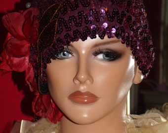 Magenta Flapper Hat  1920 s Theme Personalized    Antique style Headdress