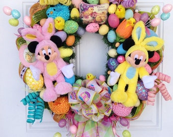 Disney Easter Wreath Mickey and Minnie Mouse