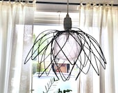 Pitch Black wire Lily ceiling Lamp Shade Rustic lighting Made to Order Uniqe - SatarasWireCrafts