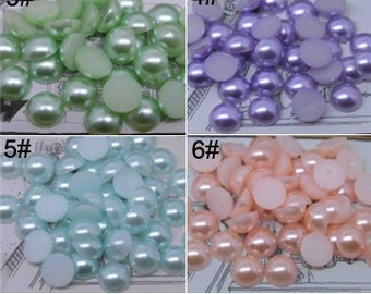 500pcs 8mm Half Pearls ABS Resin Flatback For Cell Phone DIY/ Decoden/Scrapbooking/Nail Art/Jewelry/Supplies