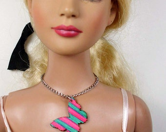 Doll Necklace - butterfly pendant, pink and turquoise - for BJD ball joint dolls, American Model, Dollfie Dream, Obitsu, Unoa