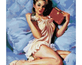 Retro Pin-Up Girl on Bed with Journal PDF Cross Stitch Pattern