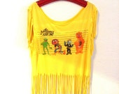 Tie Dye Tassle T-Shirt - Top - Bohemian / Hippie - Muppets - Upcycled - Cropped - Disney - yellow