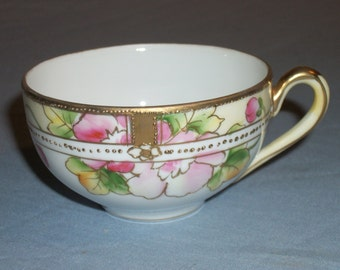 Antique Gold Beaded Nippon Tea Cup With Pink Flowers