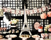 I Love Paris Party - Pink and Black Elegant 3D Eiffel Tower Centerpiece Print At Home