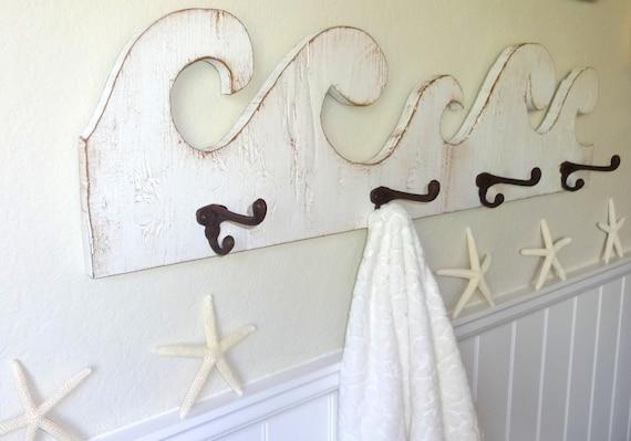 Coastal Towel Racks For Bathroom: Reserved For Tiffany Nautical Wooden Beach House Wave Towel