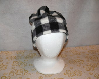 Black and White Checkered Fleece Hat