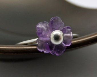 Barely There Cherry Blossom Flower Sterling Silver Ring in Amethyst - US0 to US12.0