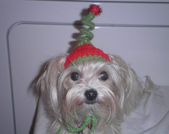 Santa Helper Dog or Cat Hats Crocheted Christmas Elf Whoville Inspired Fashion or Cindy Lou Who Costume