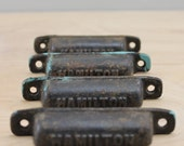 Set of 4 Antique Hamilton Letterpress Drawer Pulls
