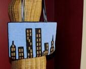 25% OFF // Twin Towers // Hand Beaded // NYC Skyline Handbag