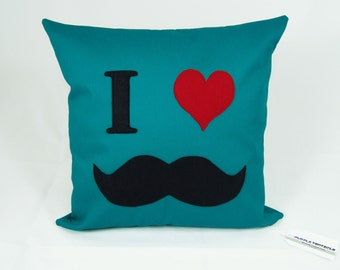Mustache cushion cover, teal, movember, geeky throw pillow, novelty housewares