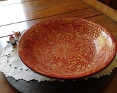 vintage Japanese lacquer bowl signed Kansaku:  Japan red & gold floral decorative bowl asian zen decor Mother's day unique care package gift