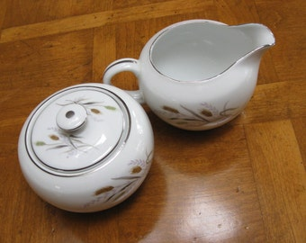 "Japan China ""Golden Grain"" Cream and Covered Sugar Bowl"