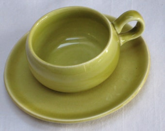 Steubenville Pottery Russel Wright American Modern Chartreuse Pottery Single Demitasse Cup and Saucer Set