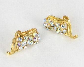Aurora borealis AB gold tone RHINESTONE screw back earrings vintage