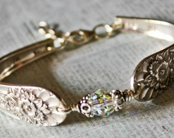 Vintage Silver Spoon Bracelet, Pattern name: Jubilee, circa 1953, Repurposed, Upcycled,  Silverplate Spoon and Fork Jewelry