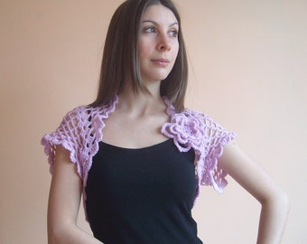 Wedding shrug - Orchid crochet shrug - Bridal bolero - Lace shrug - Sleeveless shrug - Bridesmaid shrug - Bridal wrap - Gift for her