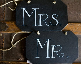 Mr and Mrs Chalkboard Signs, Mr Mrs Prop Signs, Mr Mrs Chair Signs, Chalkboard Wedding Signs, Chalk Signs, DIY Wedding Signs