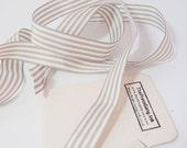 Mushroom Grey Stripe Ribbon 5 metre (5.46 yards) - UK Manufacture