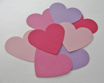 Valentine's Day Paper Heart Tag Pink and Lavender Paper Cut Outs Die Cuts Valentine Wedding Shower Heart Decorations Tags Decor Set of 100
